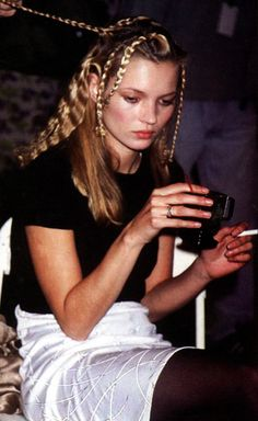 Kate Moss with braids + crimped hair