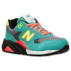 Women's New Balance 580 Elite Casual Shoes| Finish Line | Teal/Neon Yellow/Black