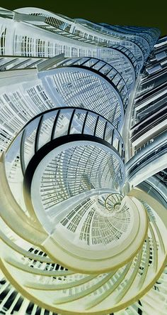 I like this futuristic and abstract architecture with all the twisting and winding, creating this  look like its growing.