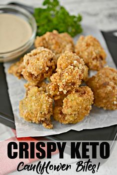 These Crispy Keto Cauliflower Bites are packed with flavour! Pair them with your fave main, alongside your fave dip or on a salad instead of croutons. Green Tomato Recipes, Vegetable Recipes, Vegetable Sides, Cauliflower Bites, Cauliflower Recipes, Low Carb Recipes, Diet Recipes, Ketogenic Recipes, Ketogenic Diet