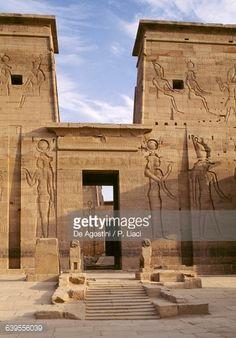 First Pylon, detail, Temple of Isis at Philae (UNESCO World Heritage List, 1979), Agilkia Island, Aswan, Egypt, Egyptian civilization
