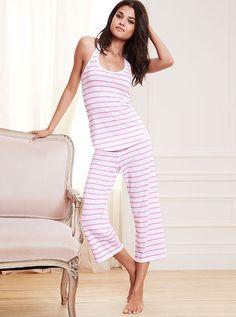 Racerback Crop Pajama Signature Cotton in pink stripe Cute Pjs, Cute Pajamas, Pajamas Women, Pajama Day, Victoria Secret Pajamas, Night Suit, Night Wear, Girly Girl, Women Lingerie
