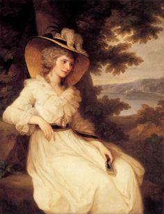 "Lady Elizabeth Foster by Angelica Kauffman, 1785 via ""The Chemise a la Reine"" on thefashionhistorian.com"