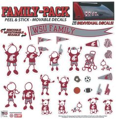 Washington State University  Stick Figure Window Decals #GoCougs...this is the only way I would ever put the stick figures on my car!