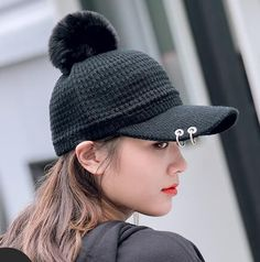 Plain black baseball cap with metal ring for women winter warm knit hat db3ef2d7c218
