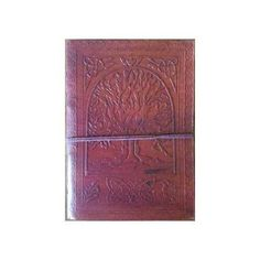 """5"""" x 7"""" Tree of Life leather blank book w/cord"""