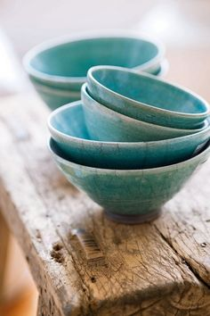 Pottery inspiration: lovely bowls. I love the way the paint is lighter on the edges.