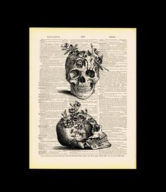 Skulls with Flowers ORIGINAL ARTWORK by MadameBricolagePrint