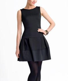 Another great find on #zulily! Black Sheer Mesh-Back Fit & Flare Dress by Lady M #zulilyfinds