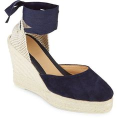 Manebi Low Wedge Leather Espadrille Sandals (250 BRL) ❤ liked on Polyvore featuring shoes, sandals, leather espadrilles, blue sandals, wedge sandals, leather sandals and ankle wrap sandals