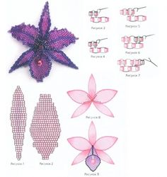 Schema for purple orchid w/some translatable instructions. #Seed #Bead #Tutorials