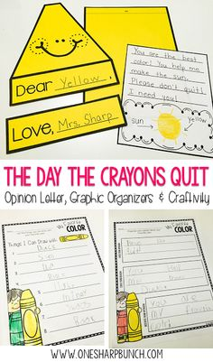 "Opinion Writing with ""The Day the Crayons Quit"" - One Sharp Bunch"