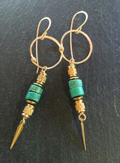 Golden spear Turquoise drops by 3tomatoes on Etsy