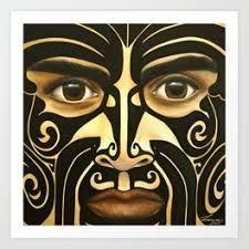 Maori warrior Art Print by Lionia - X-Small Maori Designs, Maori Art, Halloween Face Makeup, Art Prints, Contemporary, Flasks, Laptops, Original Artwork, Decal