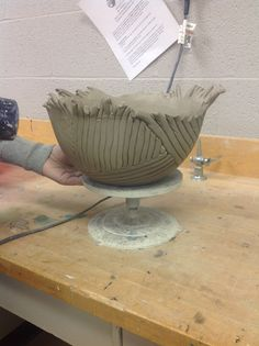 Large coil built bowl in a mold. Hand Built Pottery, Slab Pottery, Pottery Bowls, Pottery Clay, Sculpture Projects, Ceramics Projects, Ceramics Ideas, Ceramic Clay, Ceramic Bowls