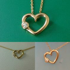 14 kt solid gold  Mini heart with diamont  by GoldenJewelryDreams
