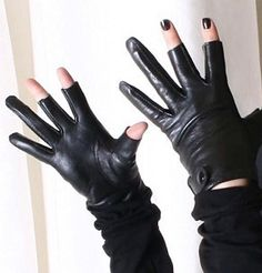 Genuine Sheepskin Leather Punk Rock 3 Fingerless Glove for iphone Touch Screen