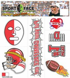 The Gameface Company Sport Face Tear and Share RED and White Team Temporary Tattoo Sticker THE GAME FACE COMPANY http://www.amazon.com/dp/B00B6LF8K4/ref=cm_sw_r_pi_dp_8mqOtb022XQAWY24