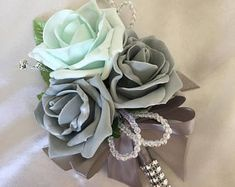 Artificial Wedding Flowers, Brides Posy Bouquet with Mint Green, Grey and White Roses with brooches, crystals and diamantes Beach Wedding Headpieces, Headpiece Wedding, Organza Ribbon, Ribbon Bows, Real Flowers, White Roses, Mint Green, Brides, Wedding Flowers