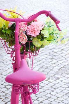 flamenco rosa pintada en bicicleta