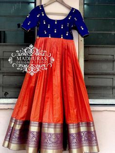 Beautiful orange and blue color combination ankle length dress with hand embroidery kasu work on yoke. Long Gown Dress, Sari Dress, Anarkali Dress, Saree Gown, Lehenga Choli, Party Wear Indian Dresses, Indian Gowns Dresses, Pakistani Dresses, Indian Outfits