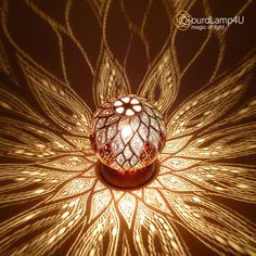 Swirling Leaves Design calabash lamps by Gourdlamp4U
