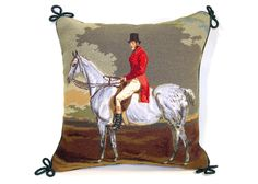 Needlepoint pillow - fox hunt.
