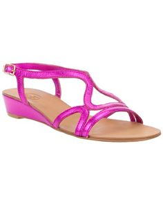 Purple metallic leather sandal from Ahs featuring an open toe, a leather sole, a small wedge heel and an ankle strap with a gold-tone buckle fastening.