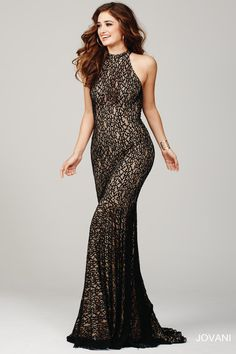 25100 by Jovani Elegant sleeveless floor length lace dress features a nude underlay
