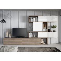 Like a piece of art for your living room, the Trasman Wall Unit Entertainment Center is so stylish, it's almost easy to forget about. Living Room Tv Unit Designs, Muebles Living, 233, Tv Wall Design, Cabinet Design, The Unit, Home Decor, Tv Entertainment Wall, Entertainment Products