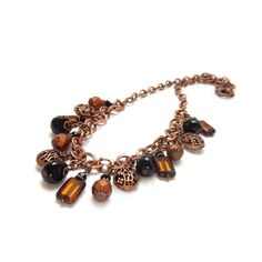 Copper & Black Statement Necklace  Filigree by RockStoneTreasures, $64.00