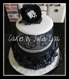 Two tier black & white with ruffles, edible lace & peony