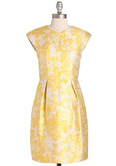 Right Buttercup Your Alley Dress. This woven sheath has everything you need for an all-around glamorous look! #yellow #wedding #modcloth