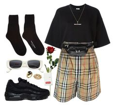 A fashion look from August 2017 featuring cotton shirts, burberry shorts and Comme des Garçons. Browse and shop related looks. Grunge Outfits, Kpop Outfits, Edgy Outfits, Korean Outfits, Fashion Outfits, Vintage Outfits, Retro Outfits, Streetwear Mode, Streetwear Fashion
