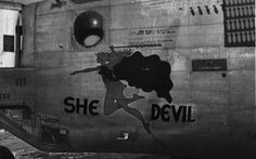 Nose art is a decorative painting or design on the fuselage of a military aircraft, usually located near the nose, and is a form of aircraft graffiti. Old Planes, Aircraft Painting, Lost Art, Aviation Art, Woman Painting, Wwii, Photo Art, Pin Up, Devil