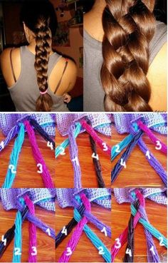 """Apparently the pin I got this from links to a not so pleasant site, however the picture is the best """"how to"""" I've seen thus far on 4 strand braids :)"""