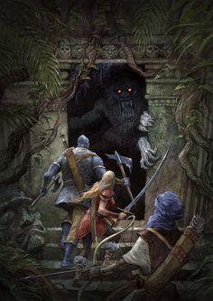 Party of 3 Jungle Temple lg Dark Fantasy Art, Fantasy Concept Art, Fantasy Kunst, High Fantasy, Fantasy Rpg, Medieval Fantasy, Fantasy Artwork, Fantasy World, Jungle Temple