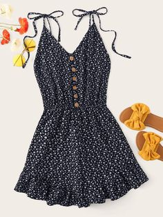 Cheap Ditsy Floral Button Front Cami Playsuit for sale Australia Cute Summer Outfits, Cute Casual Outfits, Casual Dresses, Girl Outfits, Fashion Outfits, Summer Dresses, Plus Size Jumpsuit, Lace Romper, Teen Fashion