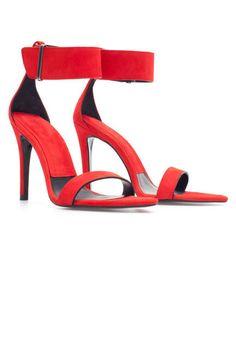 Zara Red Suede Sandal With Ankle Strap. $99.90  Read more: Summer Sandals 2013 - Womens Designer Summer Sandals  Follow us: @ElleMagazine on Twitter   ellemagazine on Facebook  Visit us at ELLE.com