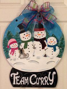 Personalized Snowman Family MDF Door Hanger.