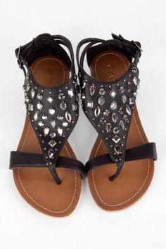 Studded T-Strap Sandals in Black :: tobi