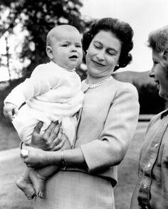 Queen Elizabeth II with her children Andrew and Anne, 1960.