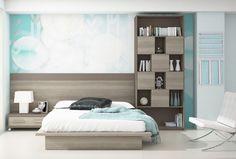 Tatamis, camas tradicionales y camas con ruedas : Tatami con mesita, cabecero y estantería con puertas