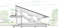 Diseño de casa moderna de un piso con techo en pendiente | Construye Hogar