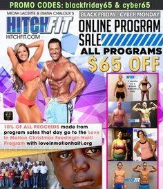 The Hitch Fit Black Friday - Cyber Monday Sale is on! Use coupon code BlackFriday65 or Cyber65 to receive $65 off the Hitch Fit Online Personal Training   #BlackFriday #Sale #CyberMonday #Coupon #couponCode #HitchFit