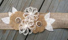 Rustic Burlap Belt/Sash-Flower Girl Sash/Belt/Rustic Flower Girl/Country Wedding/Burlap Sash Pearl