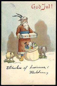 1904 Swedish Christmas Card by Thorvald Rasmussen ~ Santa in Brown Ghost Of Christmas Past, Swedish Christmas, Scandinavian Christmas, Winter Christmas, Ghost Decoration, Decorations, Vintage Christmas Cards, Vintage Ephemera, Decor Crafts