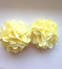 New to LaBellaRoseBoutique on Etsy: Yellow Satin hair clip 2 Yellow Mesh satin Puffs yellow wedding flower girl hair clip piggy tail clips hair accessories baby hair clip (5.00 USD)