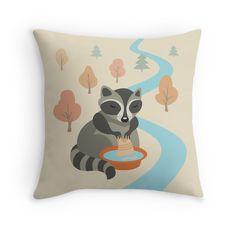 """raccoon"" Throw Pillows by LunaSolvo | Redbubble"