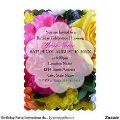 Birthday Party Invitations daisy Flower colorful